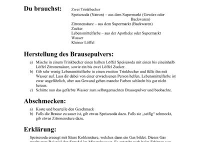 Anleitung zum Eigenexperiment - Die Herstellung von Brausepulver